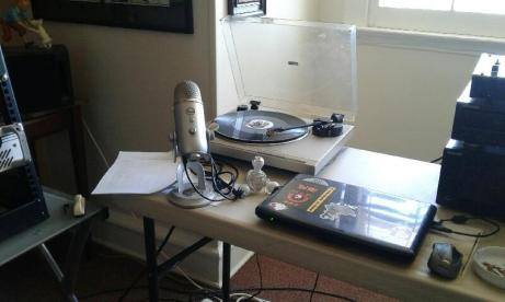 Record player, laptop and microphone